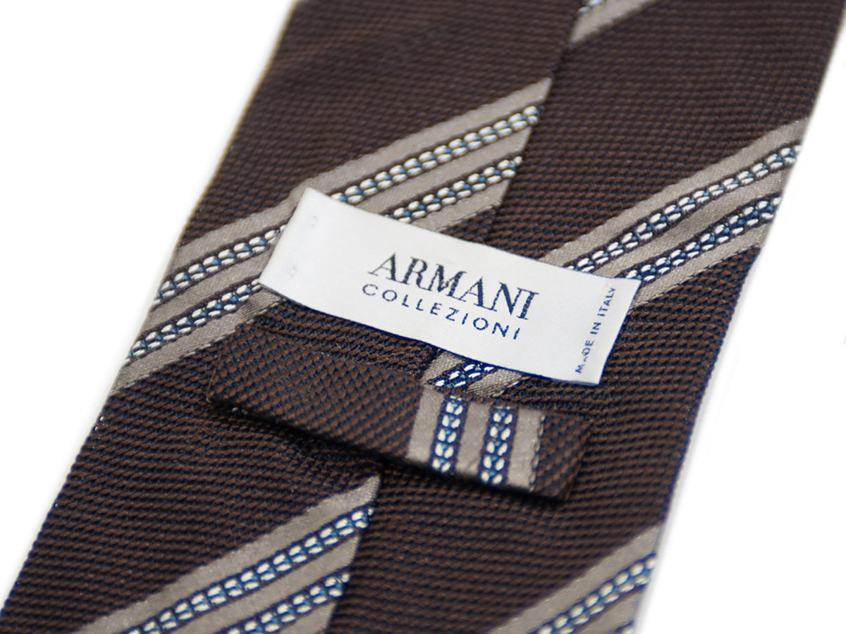 Armani Collezioni Brown Striped Italian Silk Tie