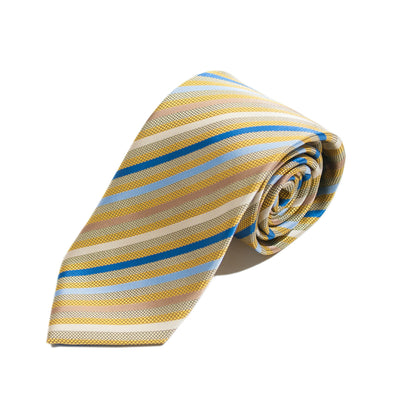 Il Gusto Dell Effiniero Roma Gold Striped Italian Silk Tie