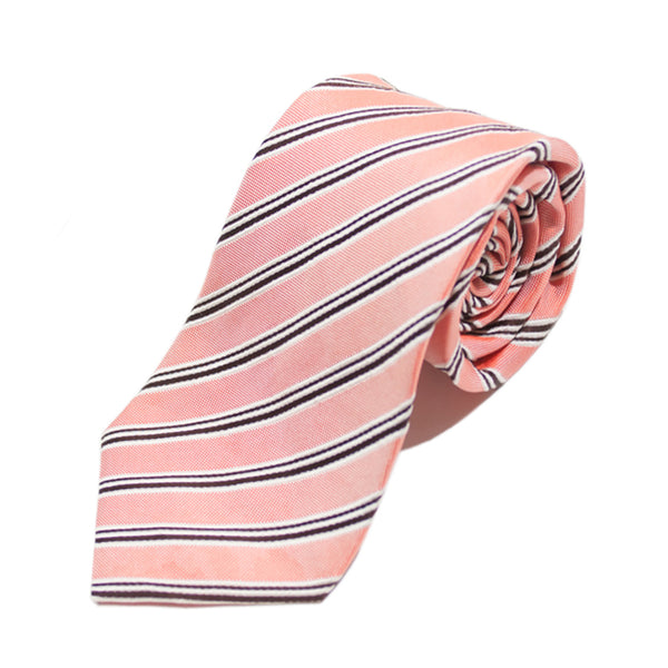 Strellson Peach Striped Italian Silk Tie