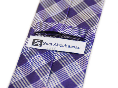 Sam Abouhassan Purple Check Silk Tie