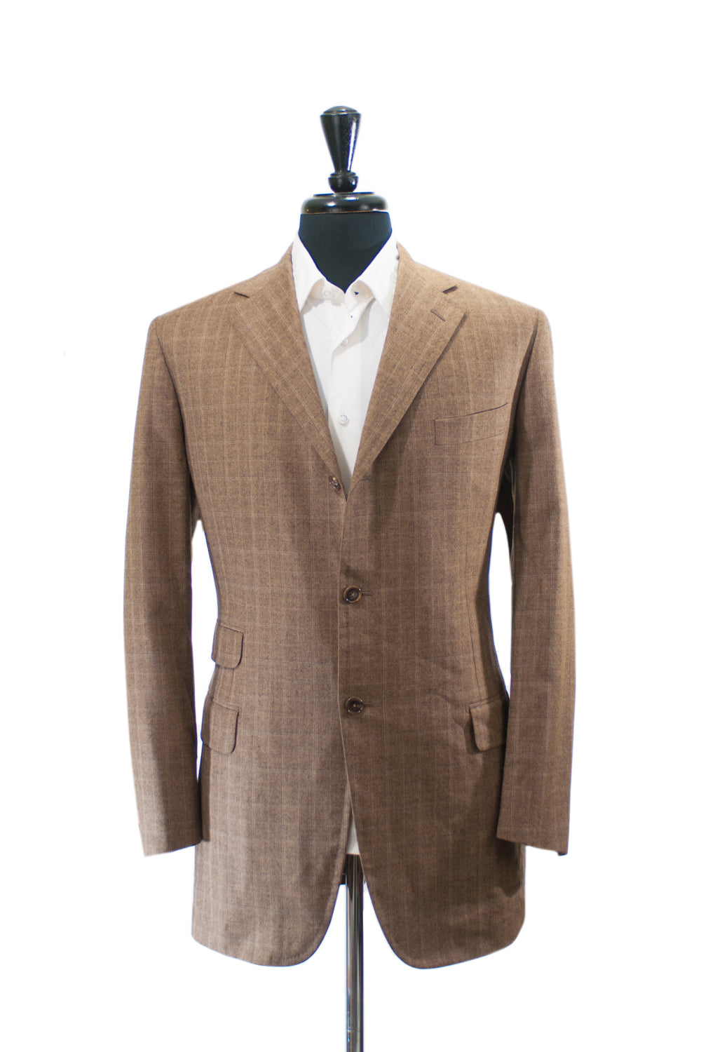 Belvest Brown Check Super 110s Wool Blazer