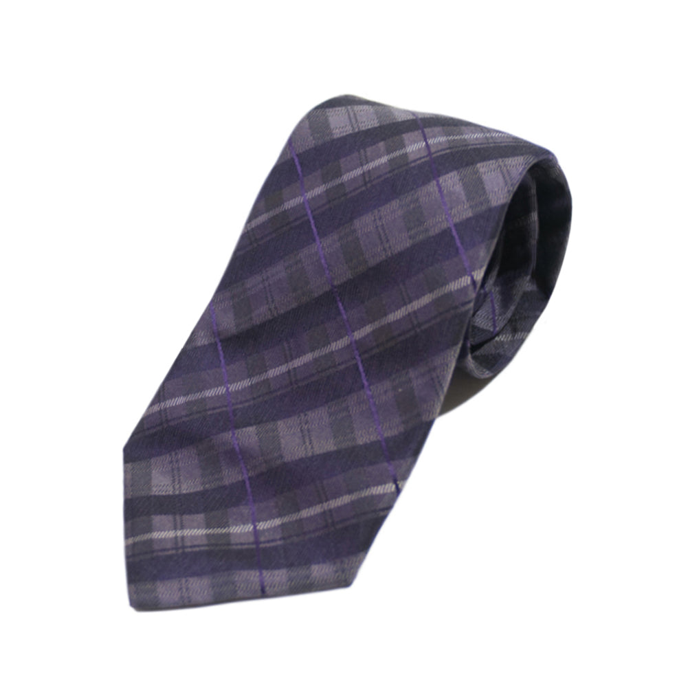 Altea Milano Purple Check Silk Tie