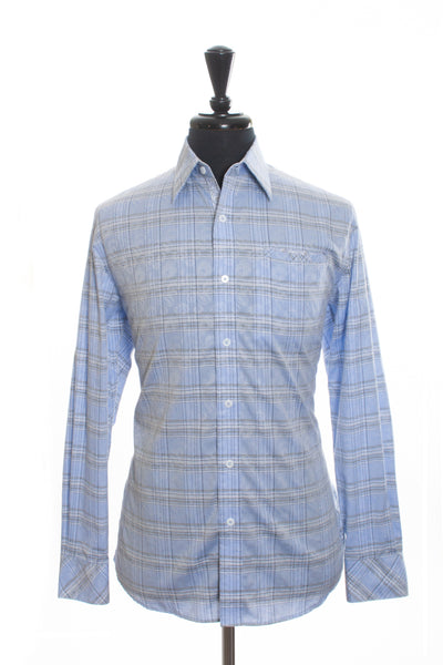 Zagiri Blue Plaid Cotton Shirt for Luxmrkt.com Menswear Consignment Edmonton