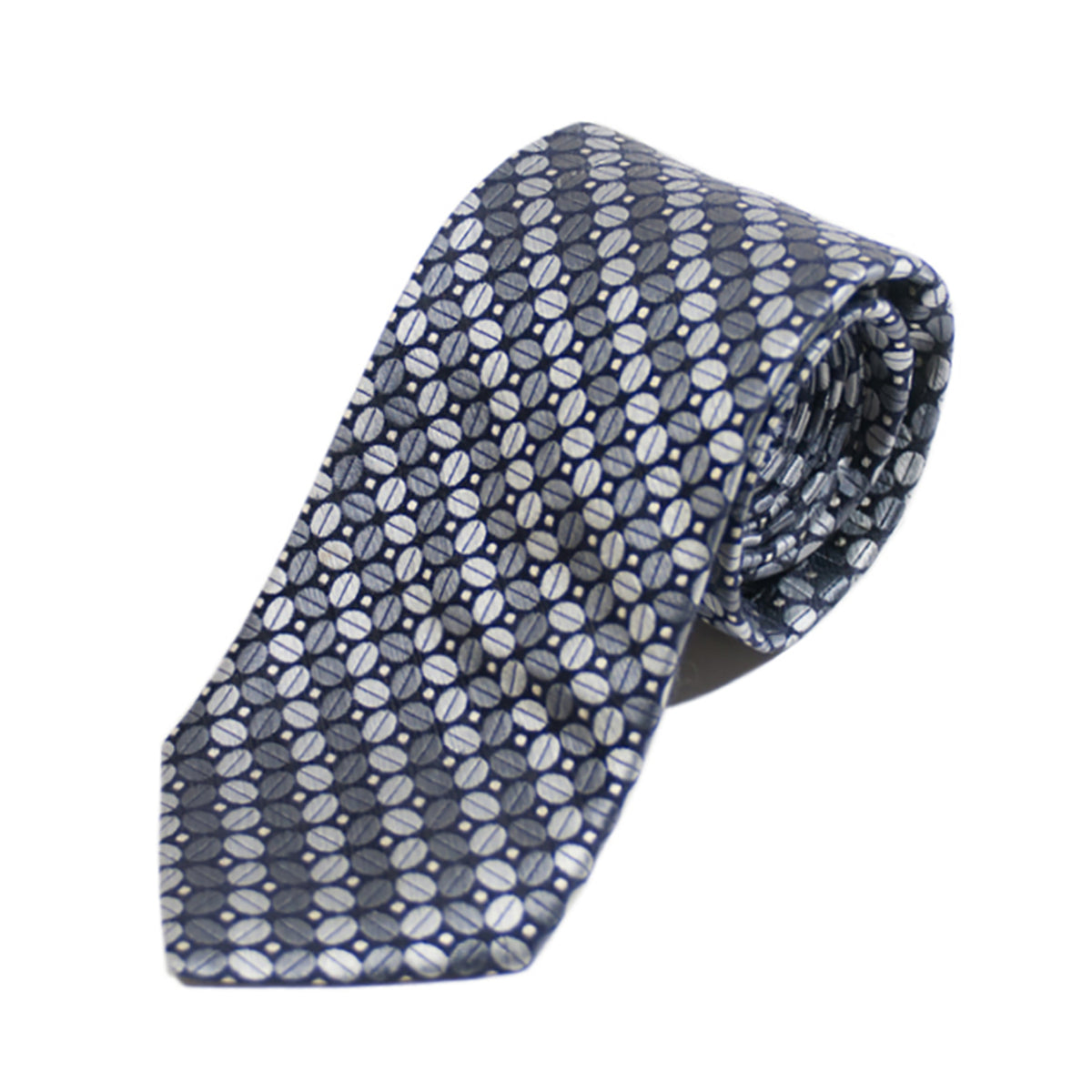 Ted Baker Grey Patterned Tie Hand Tailored in the USA. Luxmrkt.com menswear consignment Edmonton