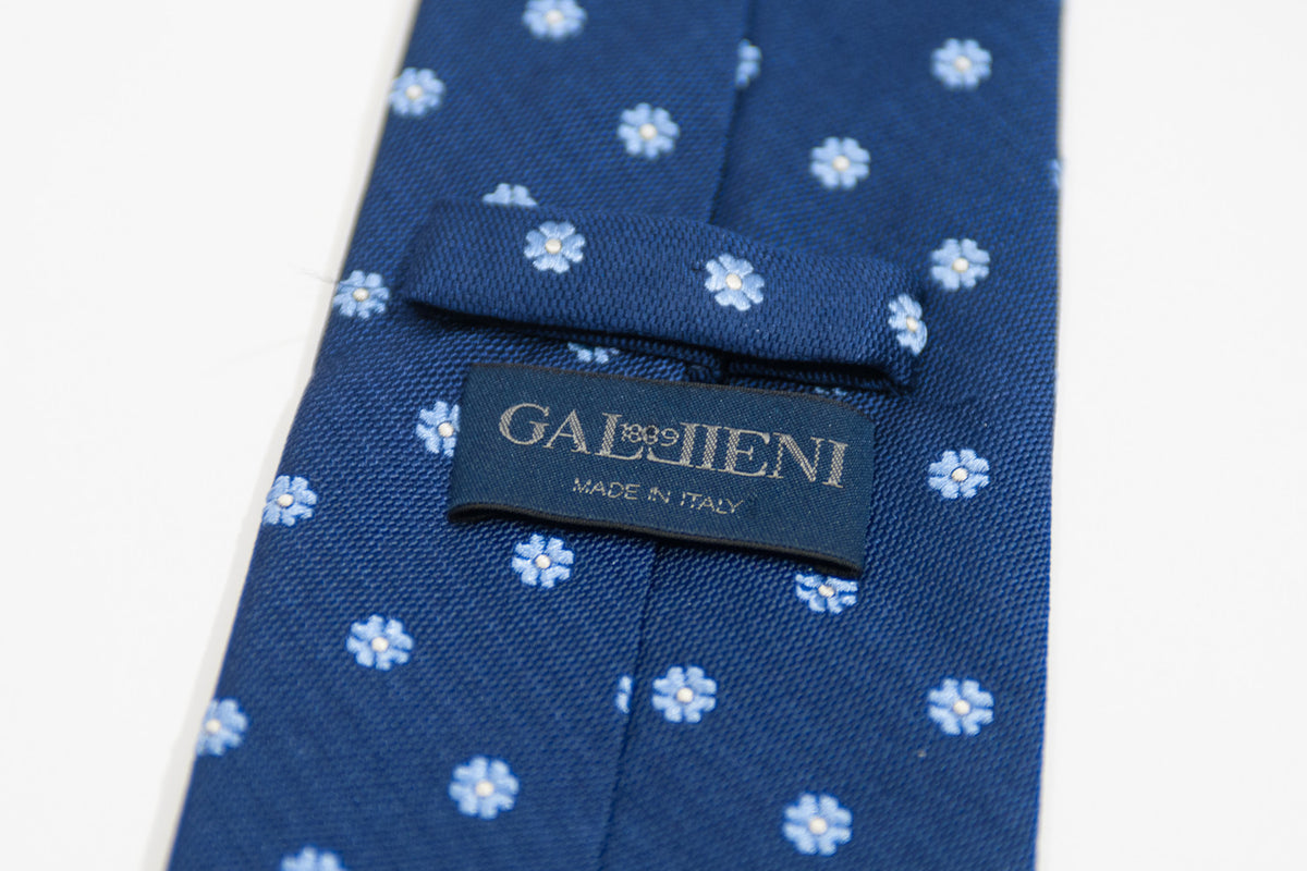 Gallieni Blue Patterned Italian Silk Tie