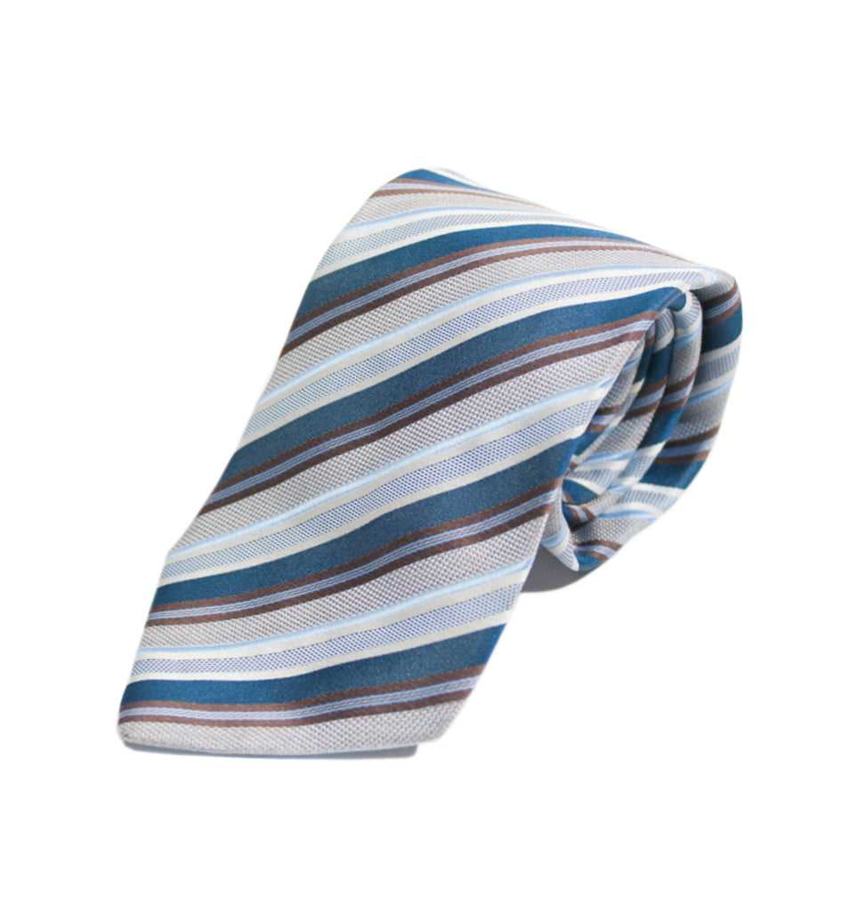 Hugo Boss Blue Striped Italian Silk Tie
