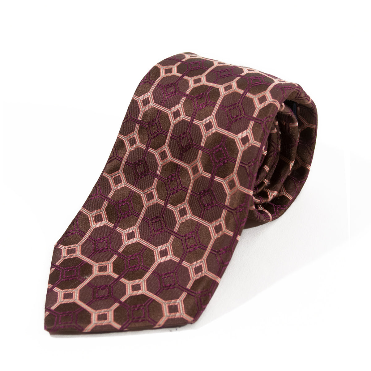 Canali Brown Geometric Patterned Silk Tie