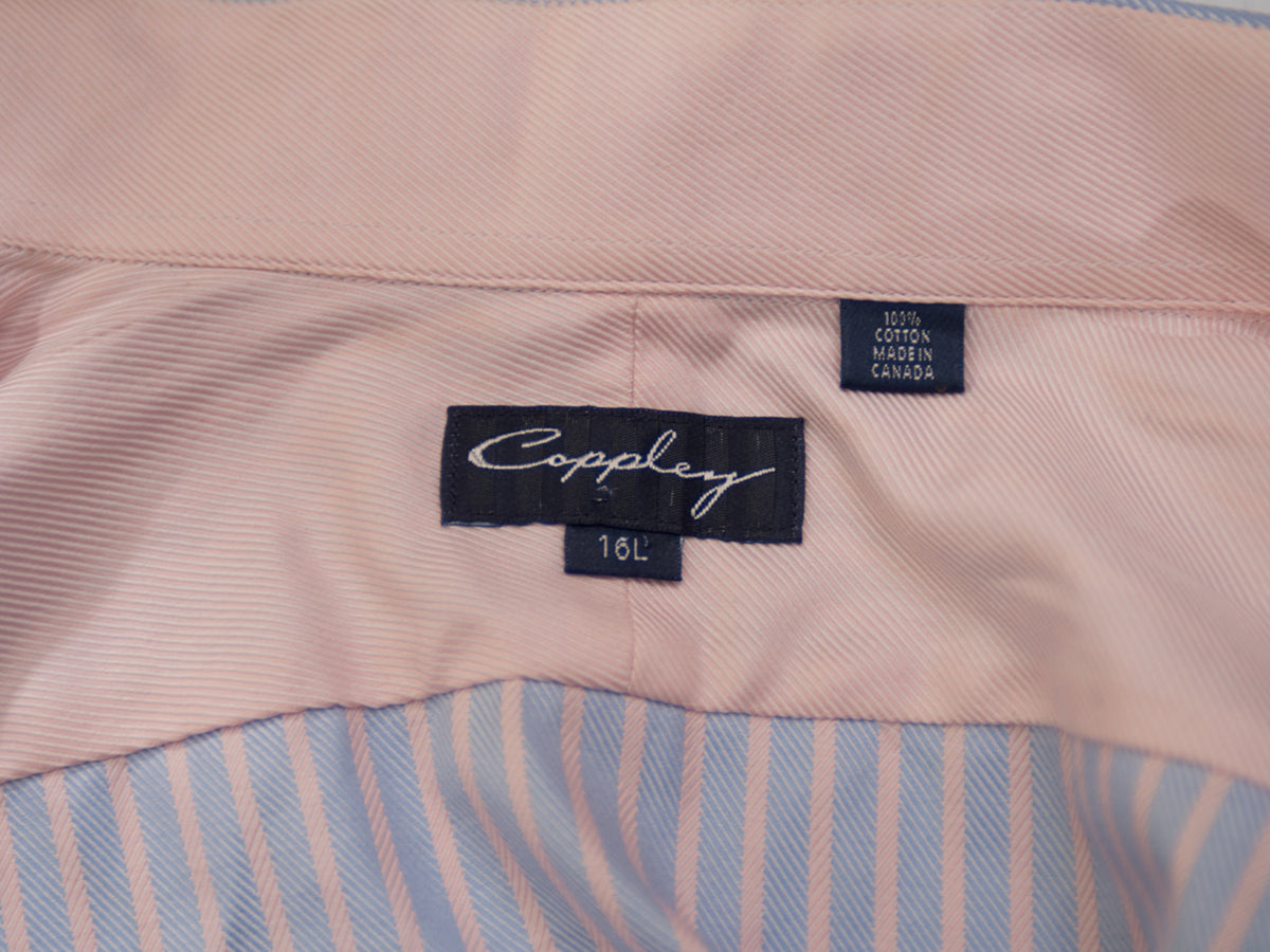 Coppley Blue and Pink Striped Cotton Shirt. Luxmrkt.com menswear consignment Edmonton.