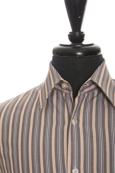 Hugo Boss Brown Stripe Italian Cotton Shirt for Luxmrkt.com Menswear Consignment Edmonton