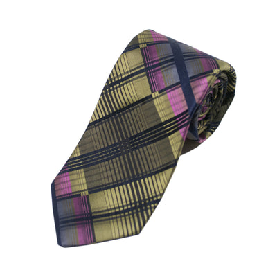 Ted Baker Green Abstract Plaid Silk Tie