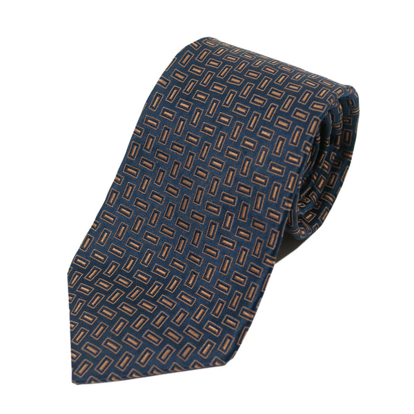 Ermenegildo Zegna Navy Blue Patterned Silk Tie