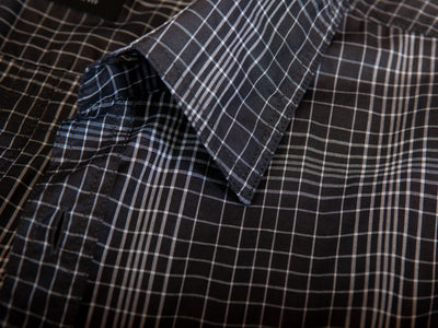 Hugo Boss Grey Check Slim Fit Roman Shirt Large for Luxmrkt.com Menswear Consignment Edmonton