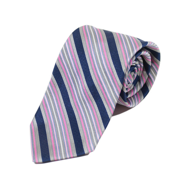 Faconnable Grey Striped Silk Tie
