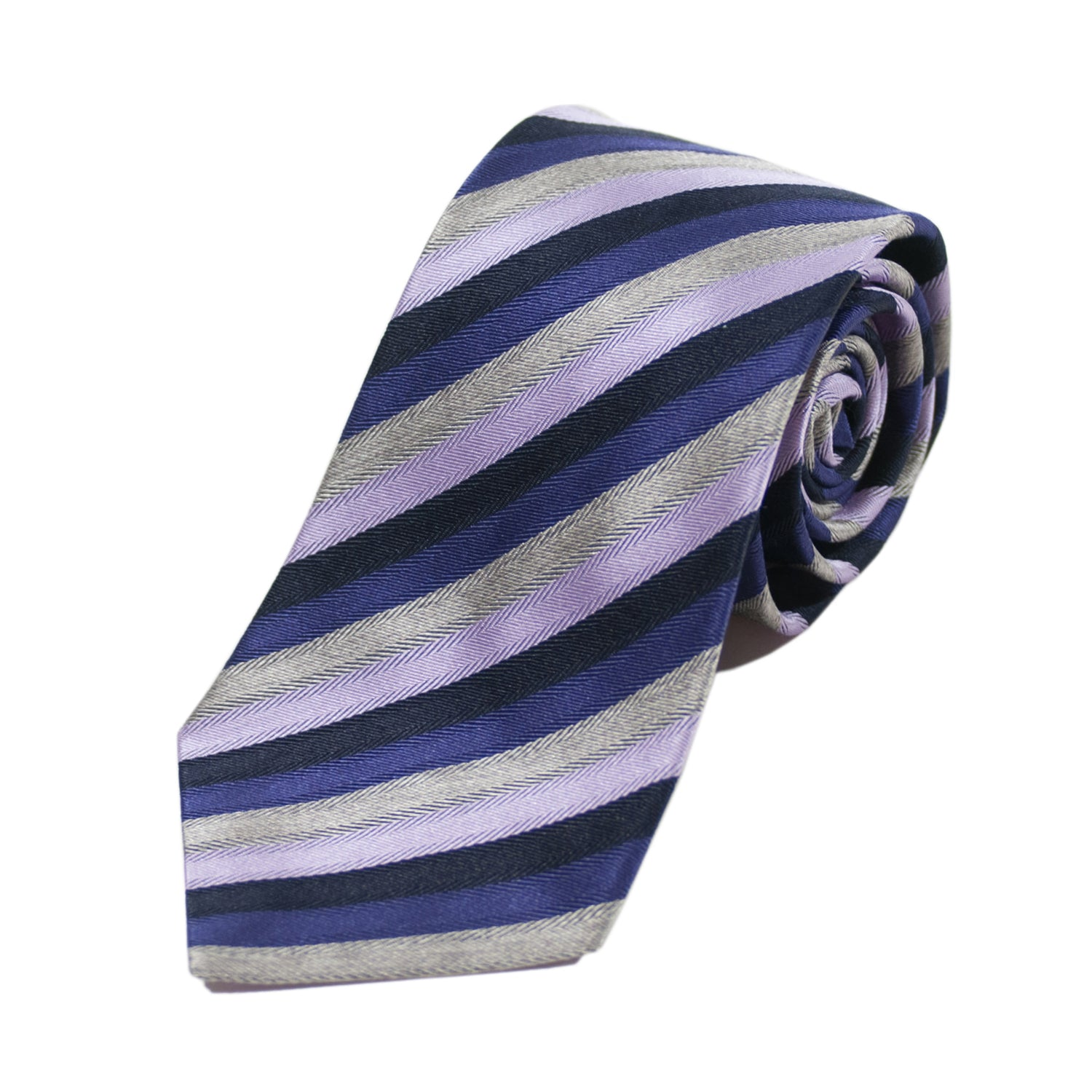 Altea Purple Striped Silk Blend Tie