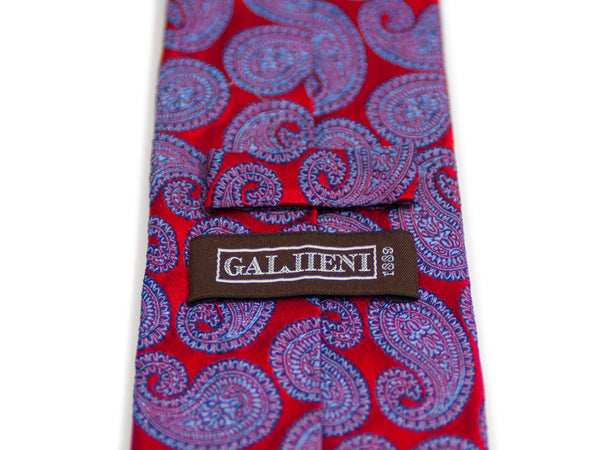 Gallieni Italy Red Paisley Tie
