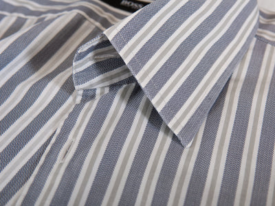 Hugo Boss Grey Herringbone Striped Enzo Shirt for Luxmrkt.com Menswear Consignment Edmonton