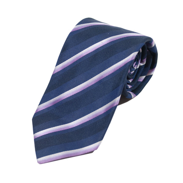 Hugo Boss Made in Italy Purple Striped Silk Tie