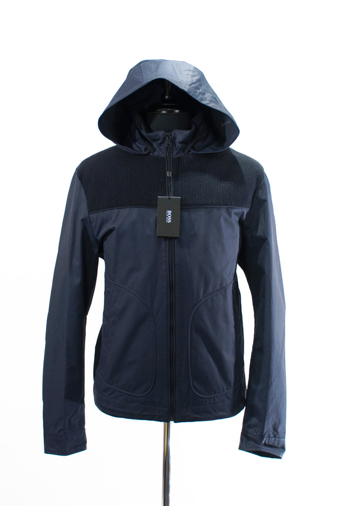 Hugo Boss Navy Blue Camillo Coated Canvas Jacket