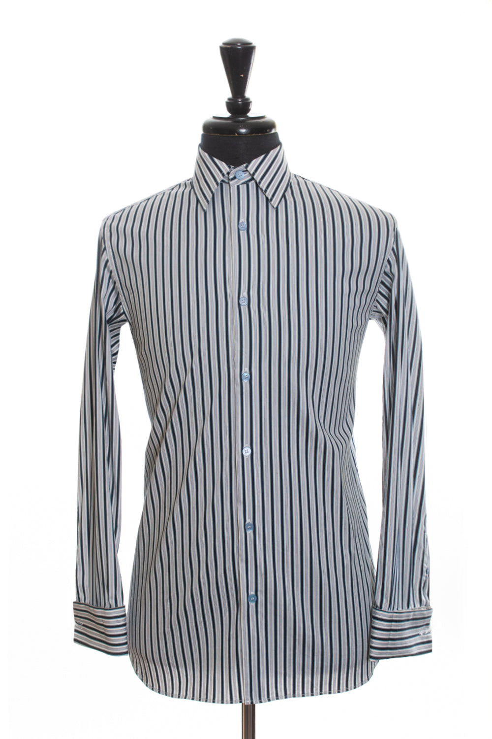 Ted Baker Navy Blue Striped French Cuff Shirt for Luxmrkt.com Menswear Consignment Edmonton