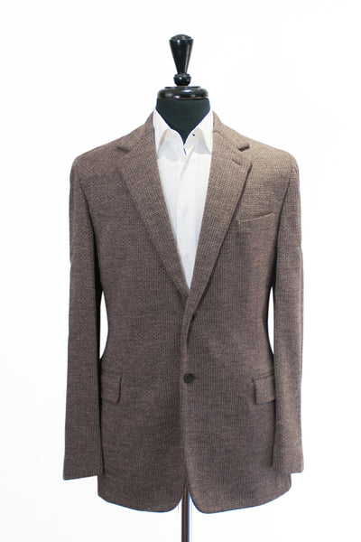 Faconnable Brown Basket Weave Wool Blazer