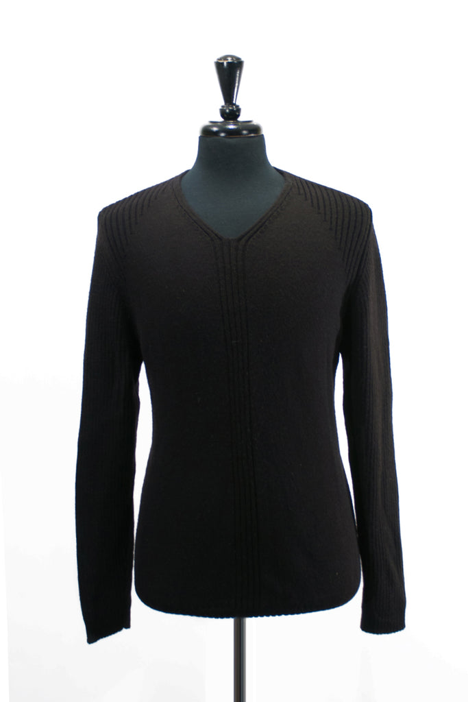 Strellson Black Wool V-Neck Sweater