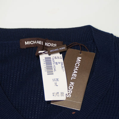 Michael Kors Navy Blue Waffle Knit Sweater