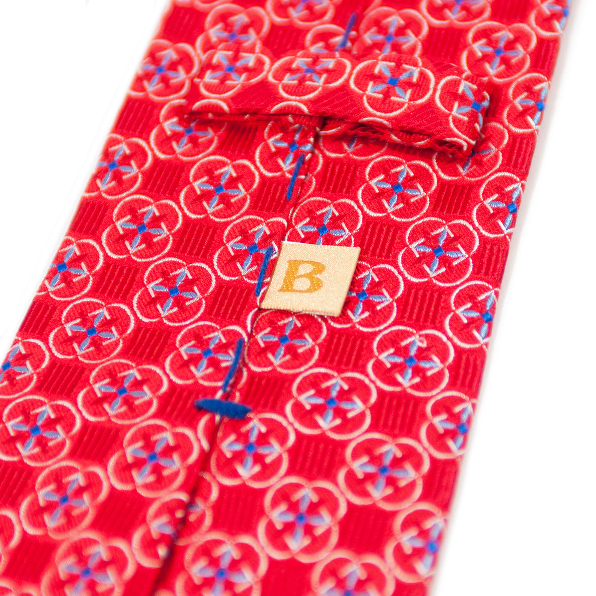 Braemore Red Geometric Patterned Silk Tie. Luxmrkt.com menswear consignment Edmonton