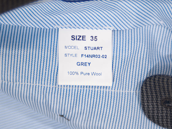 Santorelli Grey Houndstooth Check Stuart Trousers
