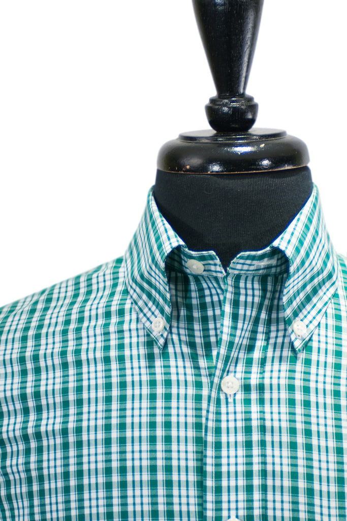 Brooks Brothers Green Check Supima Cotton Button Down Shirt