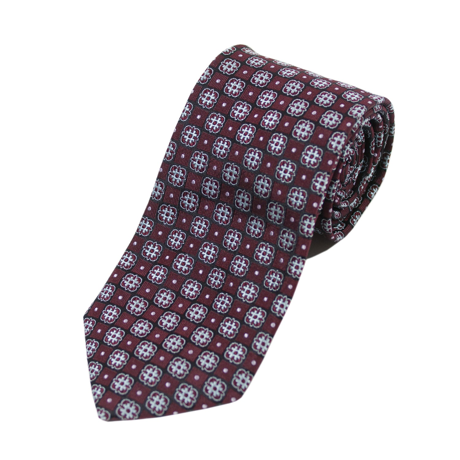 Braemore Burgundy Patterned Silk Tie