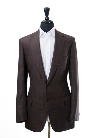 Brioni Brown Windowpane Check Silk Blend Nomentano Blazer