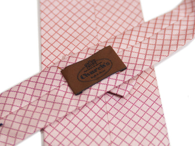 Church's Pink Check Italian Silk Tie