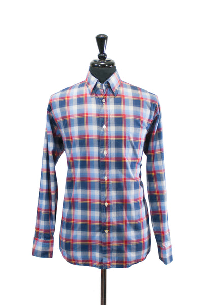 Robert Talbott Blue Plaid Cotton Shirt