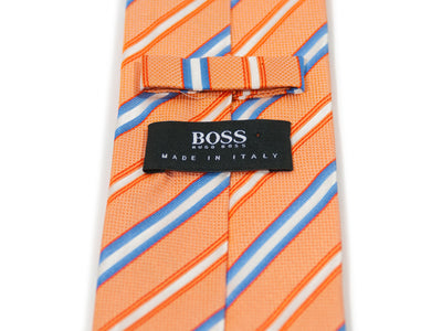 Hugo Boss Made in Italy Orange Stripe Silk Tie. Luxmrkt.com menswear consignment Edmonton