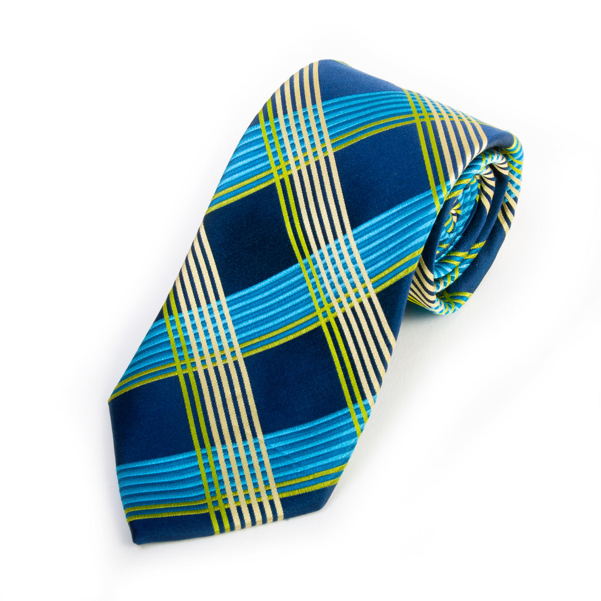 Ted Baker Blue Check Hand Tailored Silk Tie for Luxmrkt.com Menswear Consignment Edmonton
