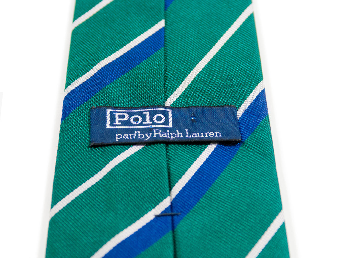 Ralph Lauren Polo Dark Green Striped Tie. Luxmrkt.com menswear consignment Edmonton