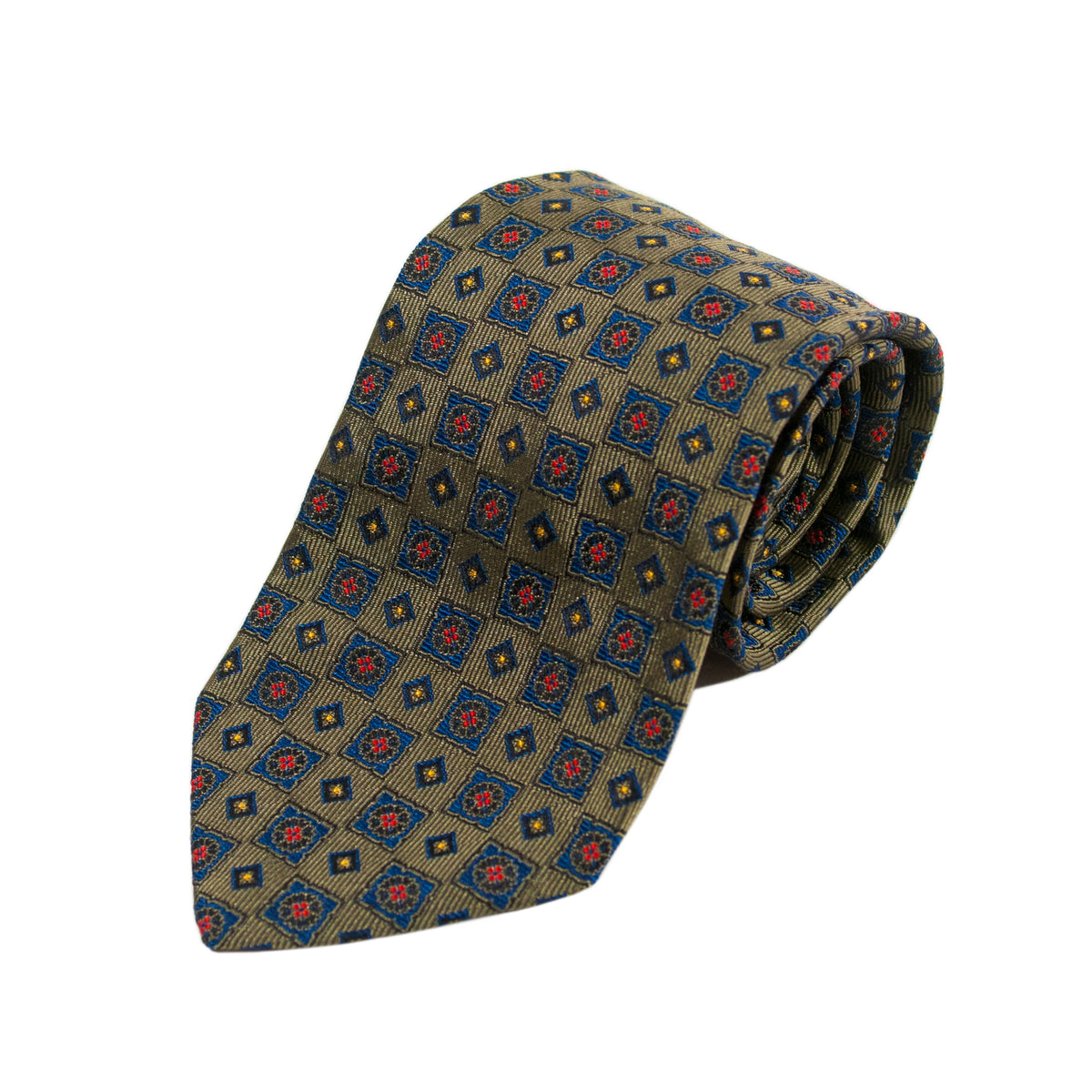 Arte by Altea Milano Green Geometric Patterned Silk Tie
