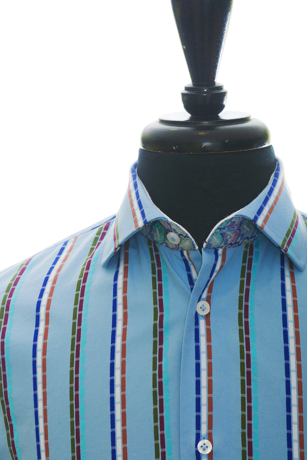 Robert Graham Daring Blue Pattern Stripe Silk Blend Shirt