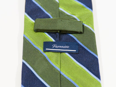 Faconnable Green Striped Silk Tie