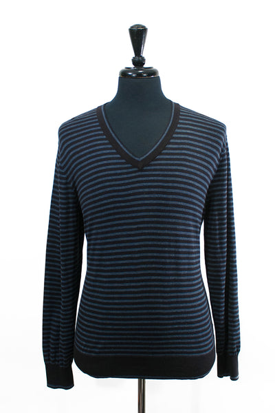 Michael Kors Grey Striped Cotton V-Neck Sweater