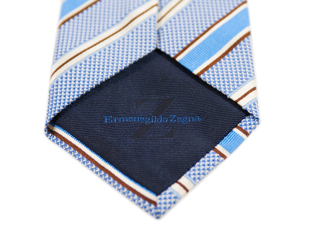 Ermenegildo Zegna Blue Striped Cotton Blend Tie for Luxmrkt.com menswear consignment Edmonton