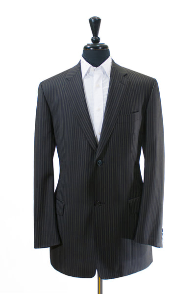 Sam Abouhassan Black Striped Fine Wool Suit