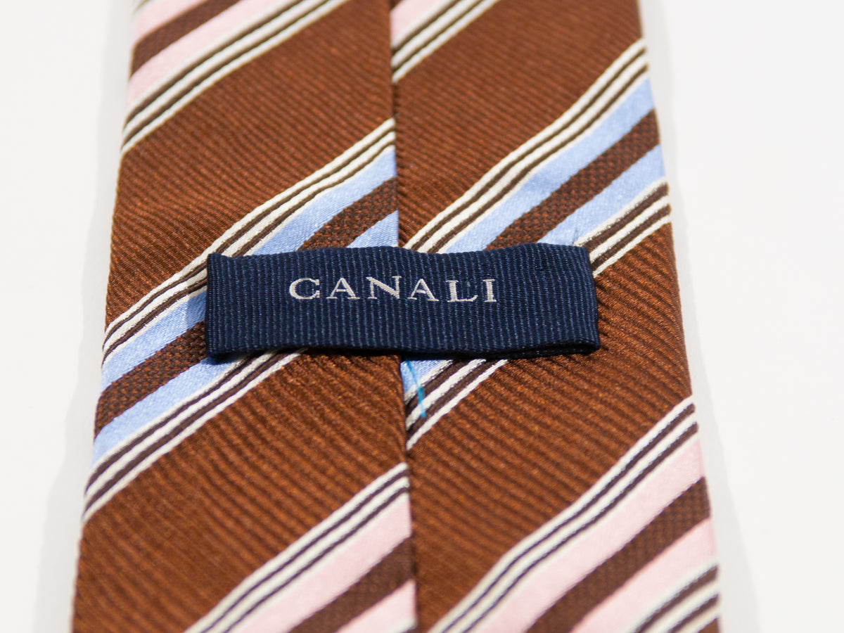 Canali Brown Striped Silk Tie