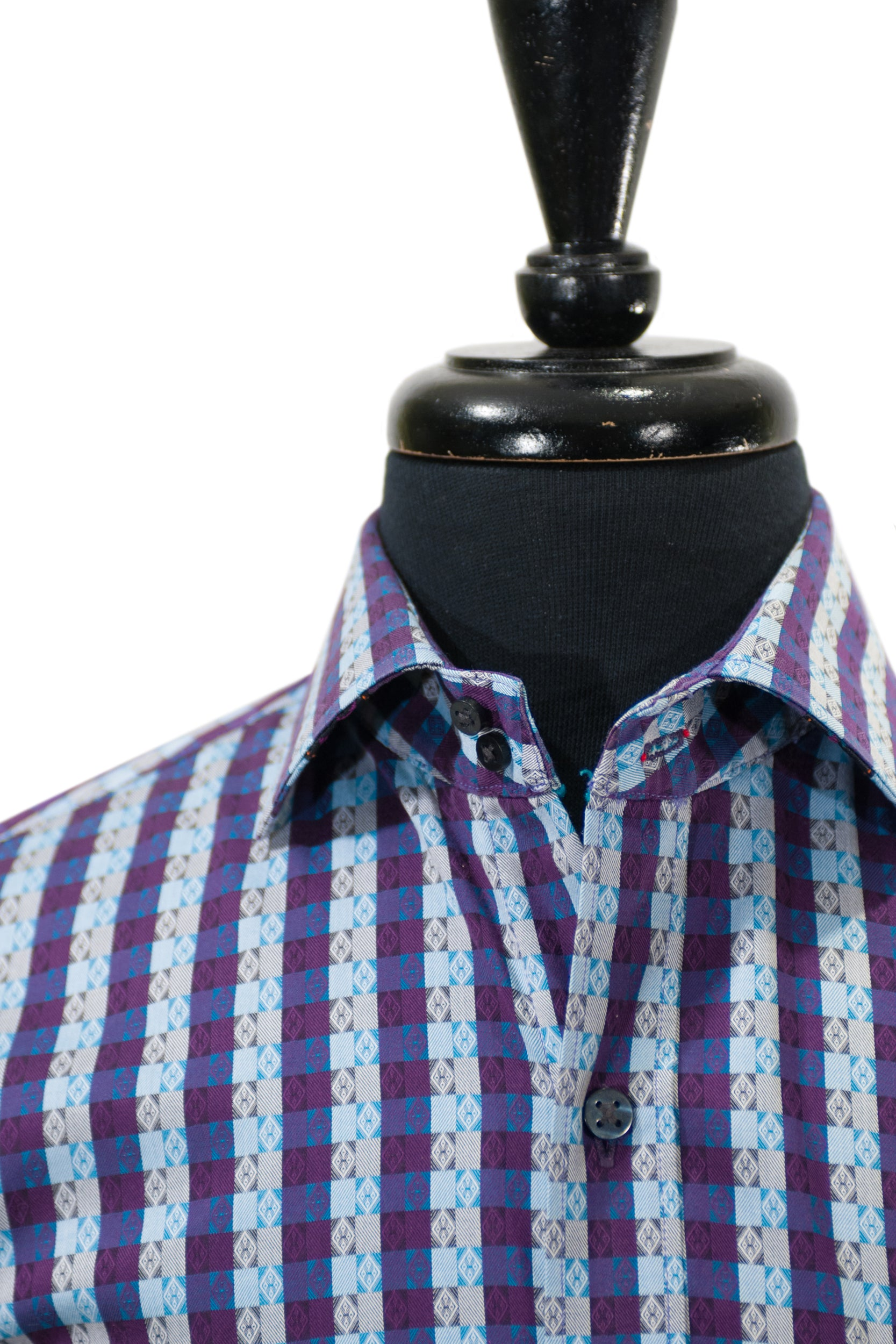 Robert Graham Exclusive Purple Pattern Check Sport Shirt