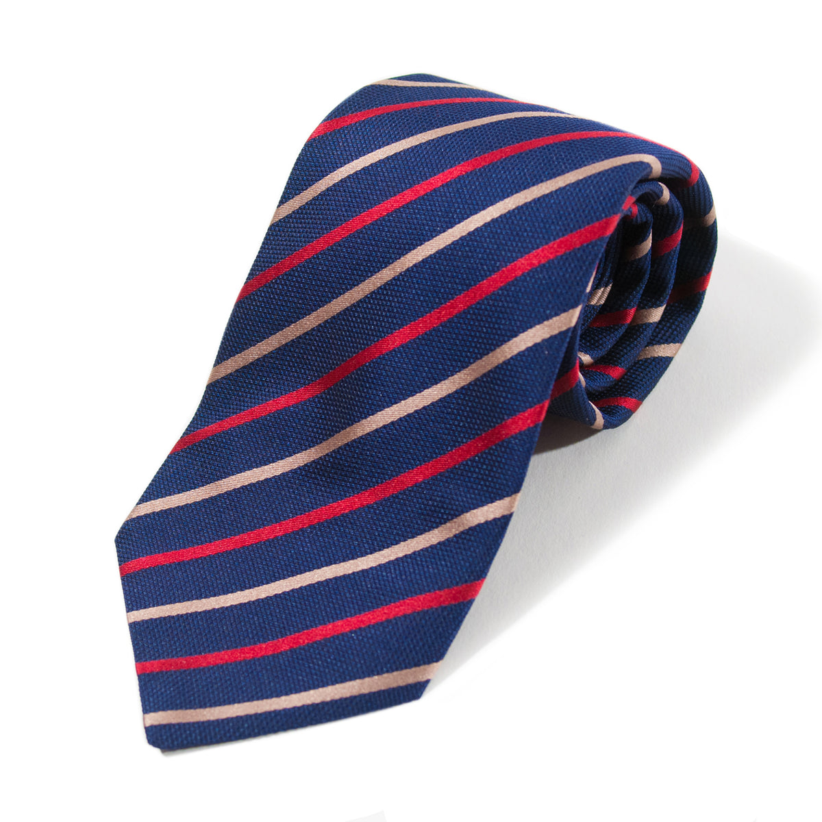 Tino Cosma Navy Blue Striped Silk Tie for Luxmrkt.com menswear consignment Edmonton