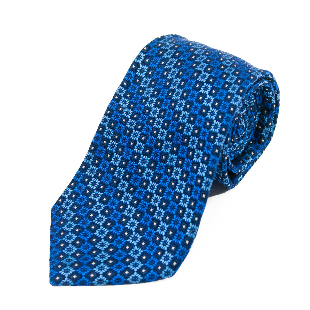 Harry Rosen Blue Geometric Patterned Silk Tie