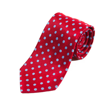 Michelsons of London Red Polka Dot Silk Tie
