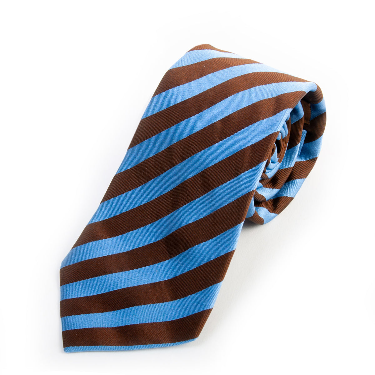 Loding Blue on Brown Candy Stripe Silk Tie for Luxmrkt.com Menswear Consignment Edmonton
