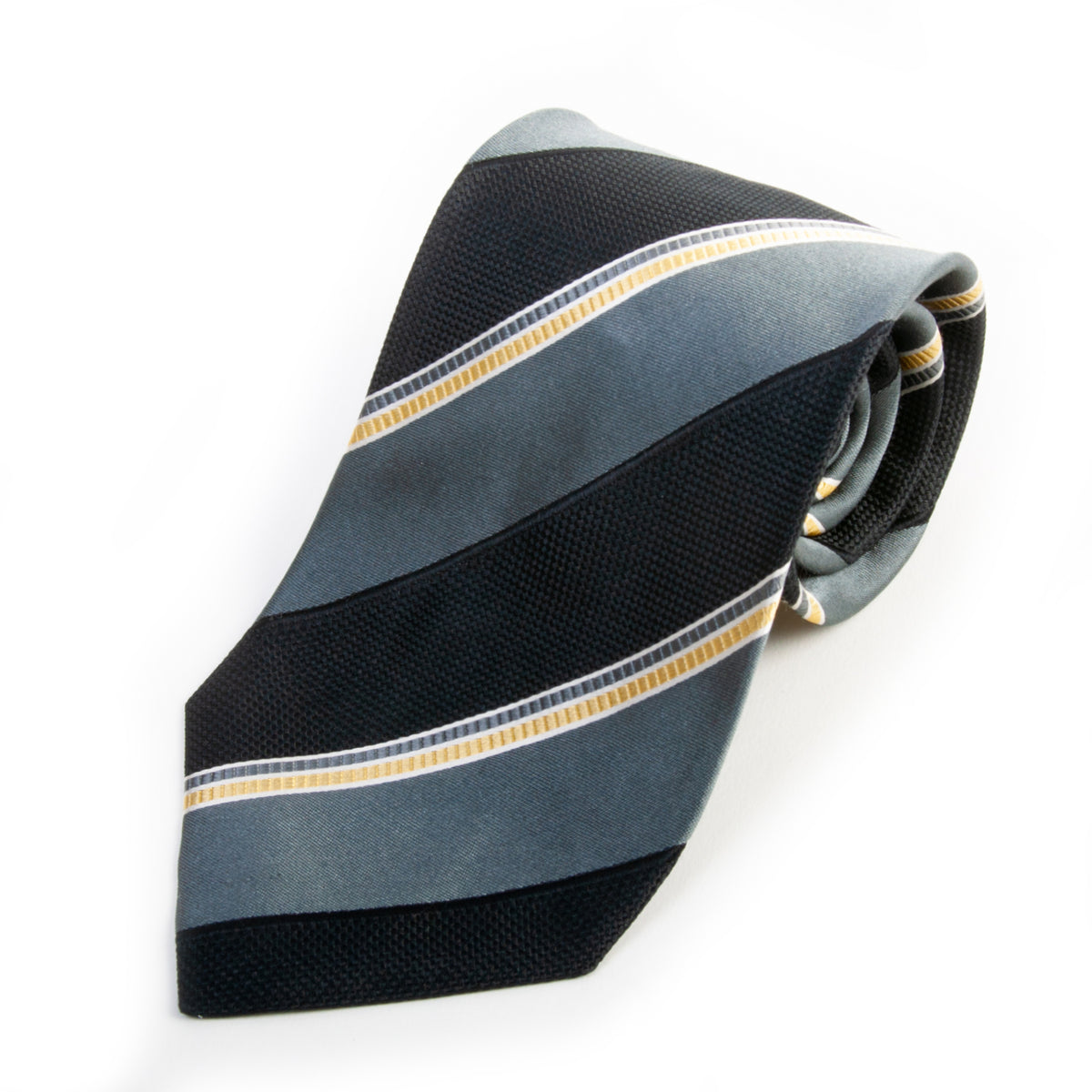 Giorgio Armani Black on Grey Shadow Stripe Silk Tie for Luxmrkt.com Menswear Consignment Edmonton