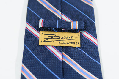 Dion Navy Blue Repp Stripe Tie